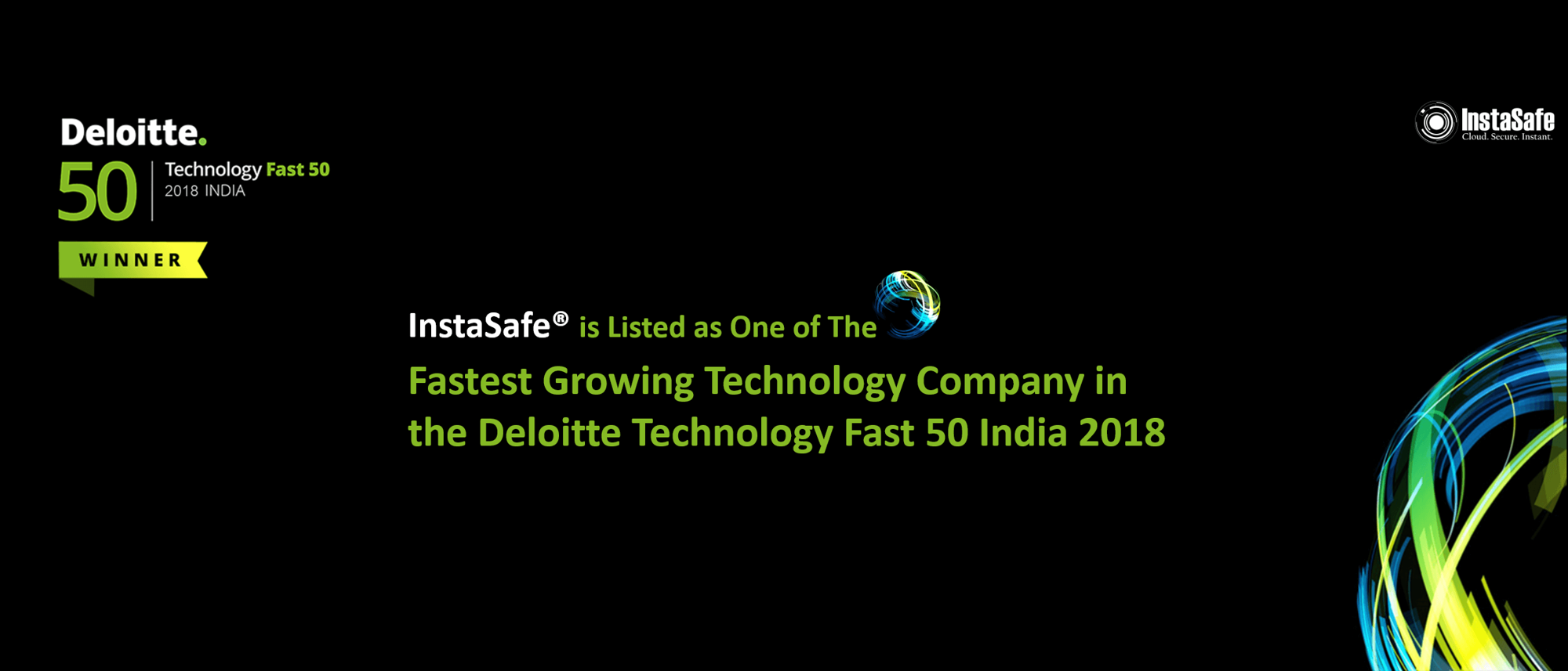 InstaSafe Wins Deloitte Technology Fast 50 India 2018 Award - Website Banner